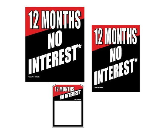 No Interest Retail Sale Event Sign Kit