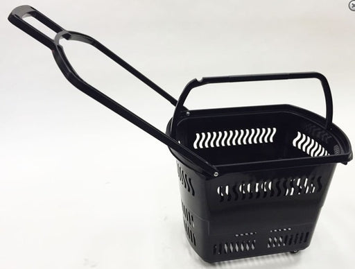Rolling Shopping Basket with Wheels-Black 6 pieces
