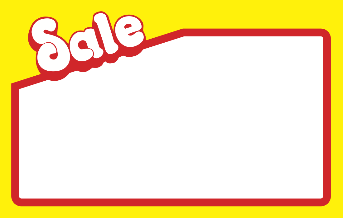 "Sale Shelf Signs Price Cards 20""W x 14""H - 25 per pack - screengemsinc"