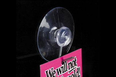 "Suction Cup Sign Holder with Metal Hooks- 2.5"" diameter- 25 pieces"