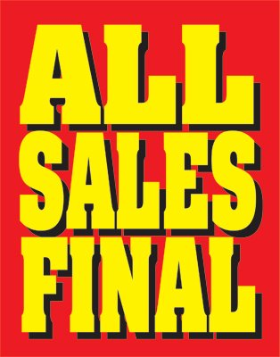 All Sales Final Standard Posters-Floor Stand Stanchion Signs-4 pieces