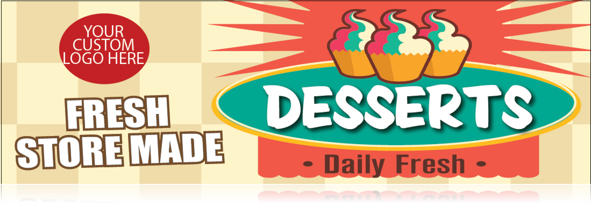 Spiral Small Sign Board Header Desserts-Custom