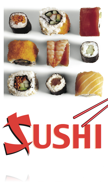 "Sushi Floor Stand Stanchion Sign 22""W x 28""H"