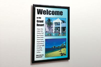 Wall Mount Black Front Load Plastic Sign Frame