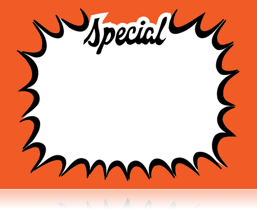 "Special Starburst Shelf Sign- 11""W x 7""H -100 signs"