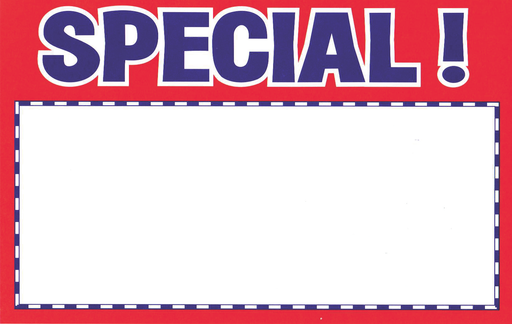 "Special Red & Blue Shelf Signs  7""W x 5.5""H-100 signs"