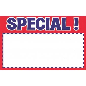 "Special Shelf Signs-Red and Blue 11""W x 7""H -100 signs - screengemsinc"