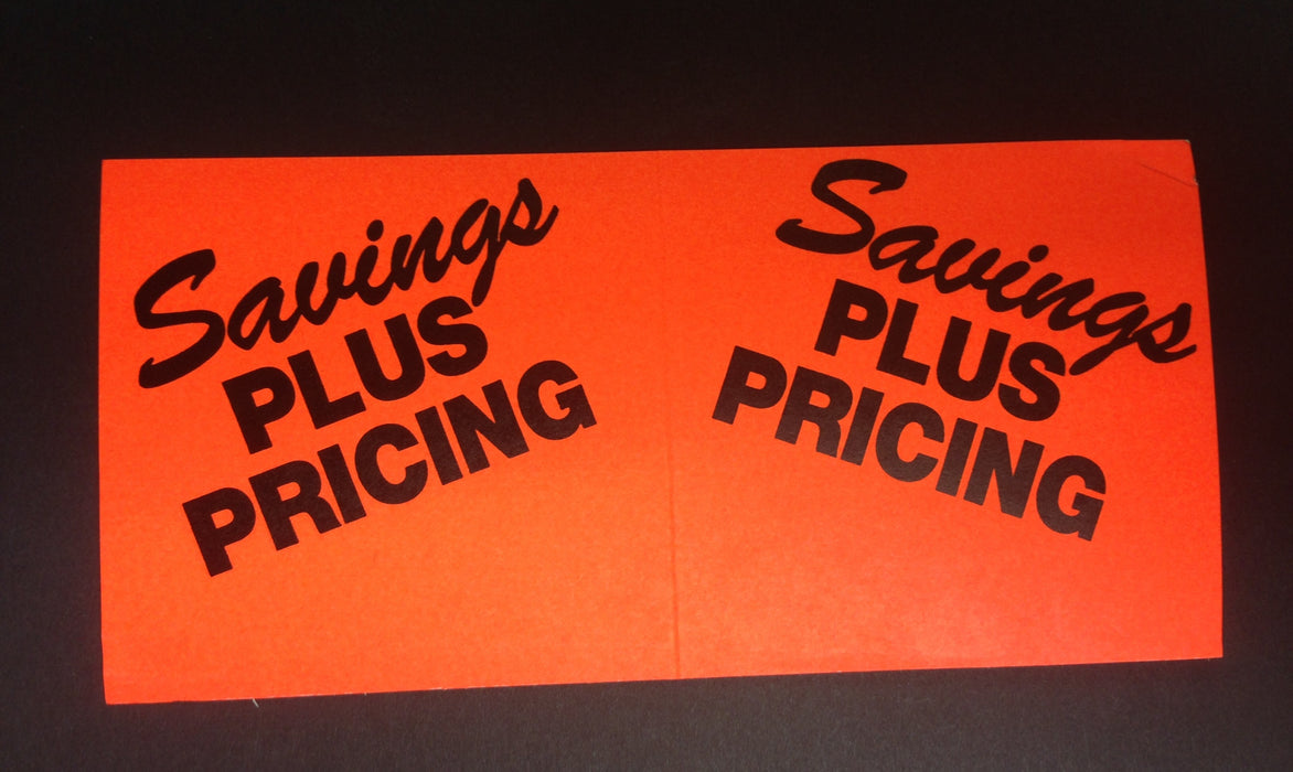 Savings Plus Pricing Aisle Violator Shelf Signs-100 signs