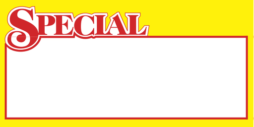 "Special Shelf Signs-Price Cards-7""W x 3.5""H -100 signs"