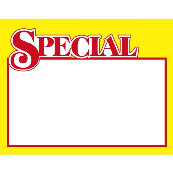 "Special Shelf Signs Price Cards 7""W x 5.5""H-100 signs"