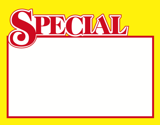 "Special Shelf Signs Price Cards 11""W x 7""H-100 signs"