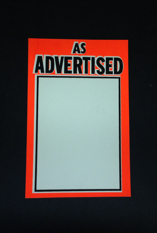 "As Advertised Shelf Signs Price Cards-Orange Fluorescent  7""W x 11""H-100 signs"