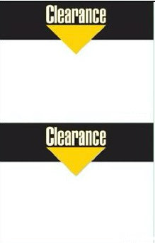 Clearance Shelf Signs-Laser Printer Compatible-2 signs per sheet-100 signs