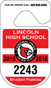 School Parking Permits-Custom Printed-Numbered -Rounded-125 pieces