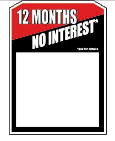 12 Months No Interest Sale Tags-Price Tags -Price Area-100 pieces
