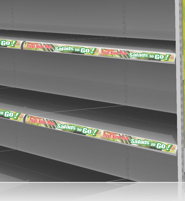"Salads to Go Price Rail Shelf Channel Molding Insert Strips- 12"" L x 1.25"" H- 20 pieces"