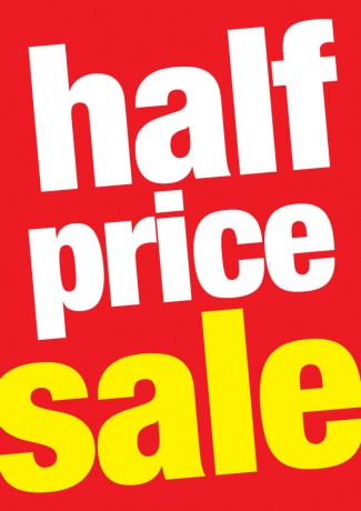 Half Price Sale Tags-Shelf Signs-8.5 x 11-50 pieces