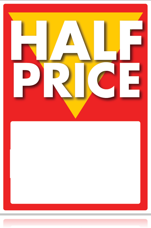 Half Price Sale Tags-Price Tags -Price Area-5 x 7-100 pieces