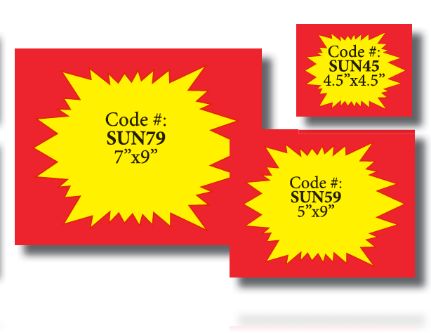 "Starburst Shelf Signs-Price Cards- 5.5"" x 7""H Red and Yellow-100 signs - screengemsinc"