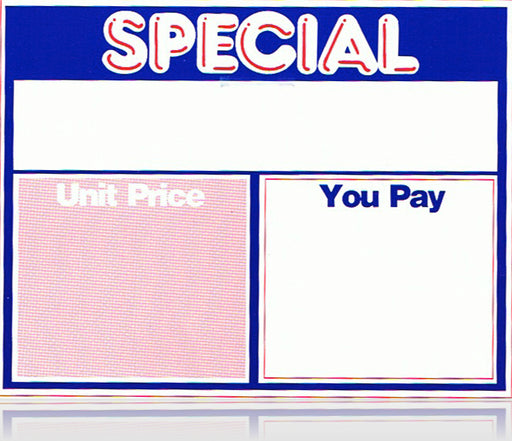 "Special Unit Price Shelf Signs 7""W x 5.5""H-100 signs"
