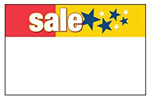 "Sale Shelf Signs-Price Cards-Stars 11"" X 7""- 50 signs"