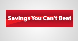 "Saving's You Can't Beat Hanging Sign Ceiling Dangler-36"" W x 18"" H"