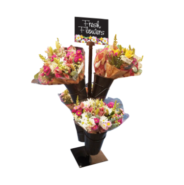 Mobile Merchandiser Fixture-Floral Stand & 4 Vases