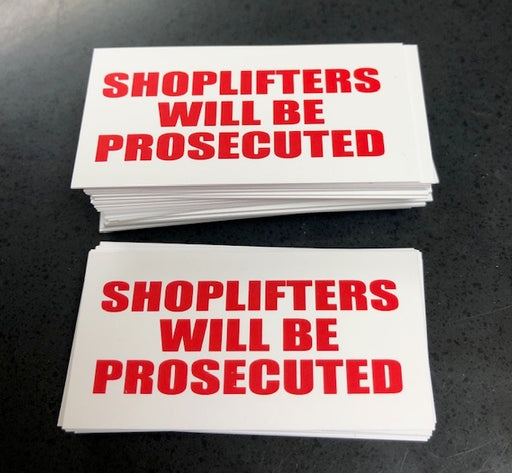 Shoplifters Will Be Prosecuted Price Channel Shelf Molding Tags-100 pieces