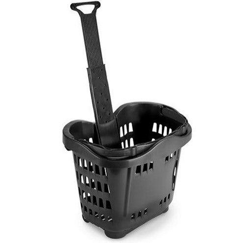Shopping Basket with Wheels-Black