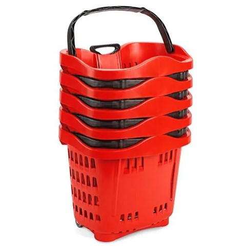 Rolling Shopping Basket with Wheels-Red 6 pieces