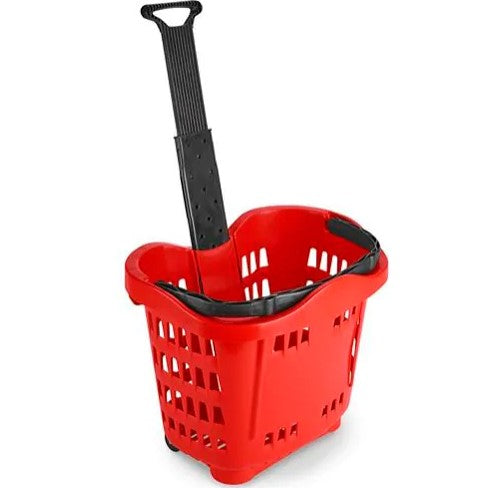 Shopping Basket with Wheels-Red