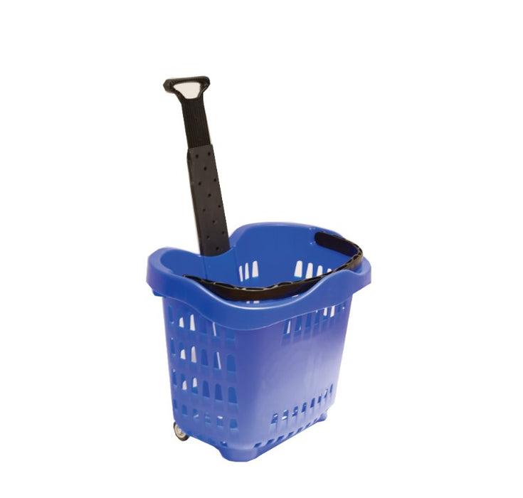 Rolling Shopping Basket with Wheels-Blue 6 pieces
