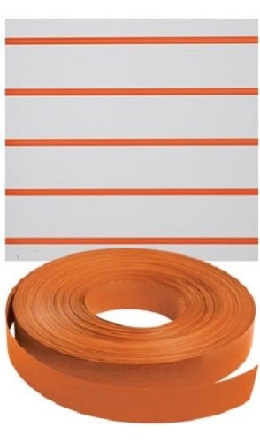 "Slatwall Decorative Vinyl Inserts-Orange Plastic Strips-1 1/4""W x 130ft -5 Rolls"