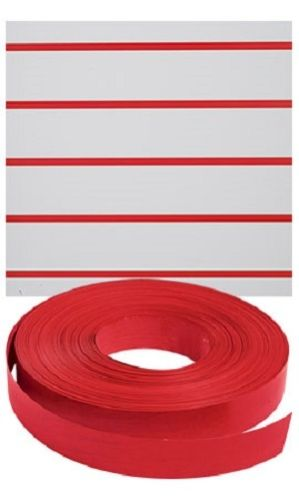 "Slatwall Decorative Vinyl Inserts-Red Plastic Strips-1 1/4""W x 130ft -5 Rolls"