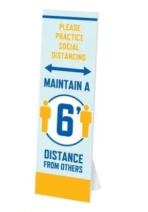 Social Distancing Floor Standee w/ Easel- 6 pieces