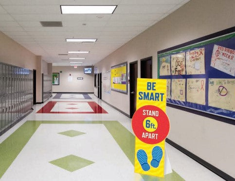 Social Distancing Floor Standee with Easel-Be Smart
