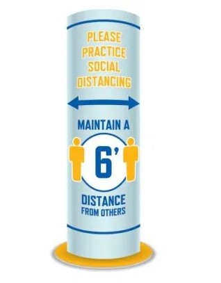 Social Distancing Round Standee-6 Feet- 5 pieces