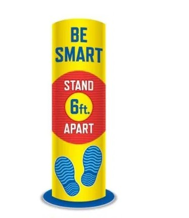 Social Distancing Round Standee-Be Smart- 5 pieces