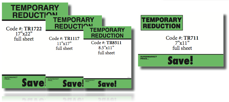"Temporary Reduction Shelf Signs- 22""H x 17""W- 100 signs - screengemsinc"