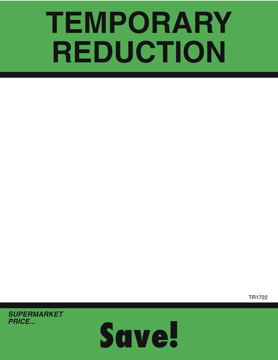 "Temporary Reduction Shelf Signs- 8.5""W x 11""H -100 signs - screengemsinc"