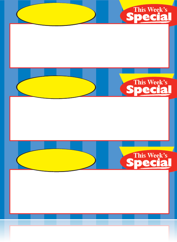 "This Week's Special Shelf Signs-Laser Compatible-8.5""W x 11""H- 3 signs per sheet -3000 signs"