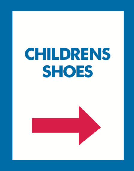 Thrift Store Floor Stand Stanchion Poster Signs-Childrens Shoes