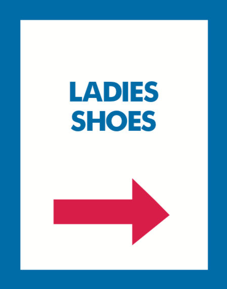 Thrift Store Floor Stand Stanchion Poster Signs-Ladies Shoes