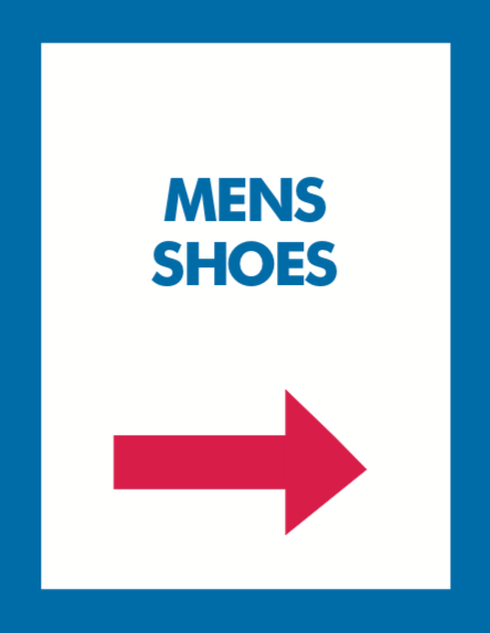 Thrift Store Floor Stand Stanchion Poster Signs-Mens Shoes