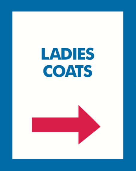 Thrift Store Floor Stand Stanchion Poster Signs-Ladies Coats