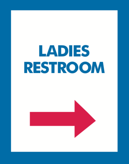 Thrift Store Floor Stand Stanchion Poster Signs-ladies restroom