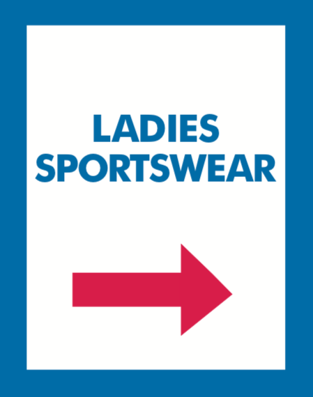 Thrift or Retail Floor Stand Stanchion Signs-Ladies Sportswear