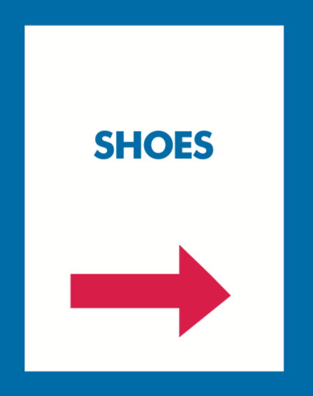 Thrift or Retail Floor Stand Stanchion Signs-Shoes