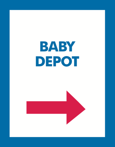 Thrift or Retail Floor Stand Stanchion Signs-Baby Depot