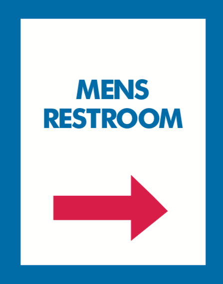 Thrift Store Floor Stand Stanchion Poster Signs-Men's Restroom